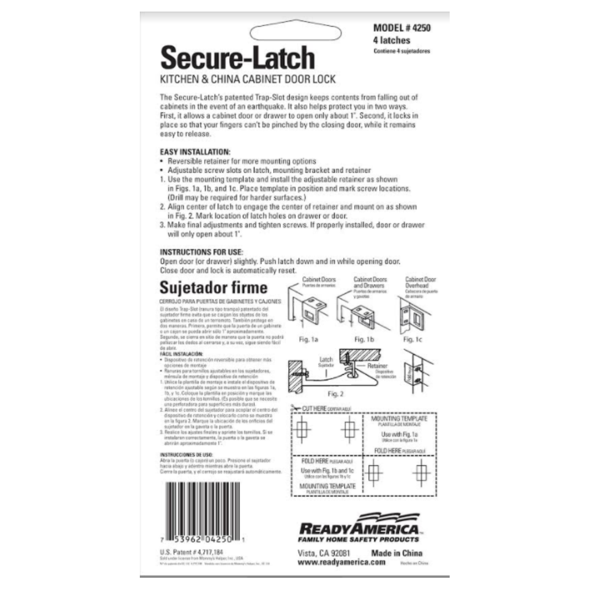 2 Packs of 4 Each Secure-Latch Kitchen /& China Cabinet Door Locks Quake Hold